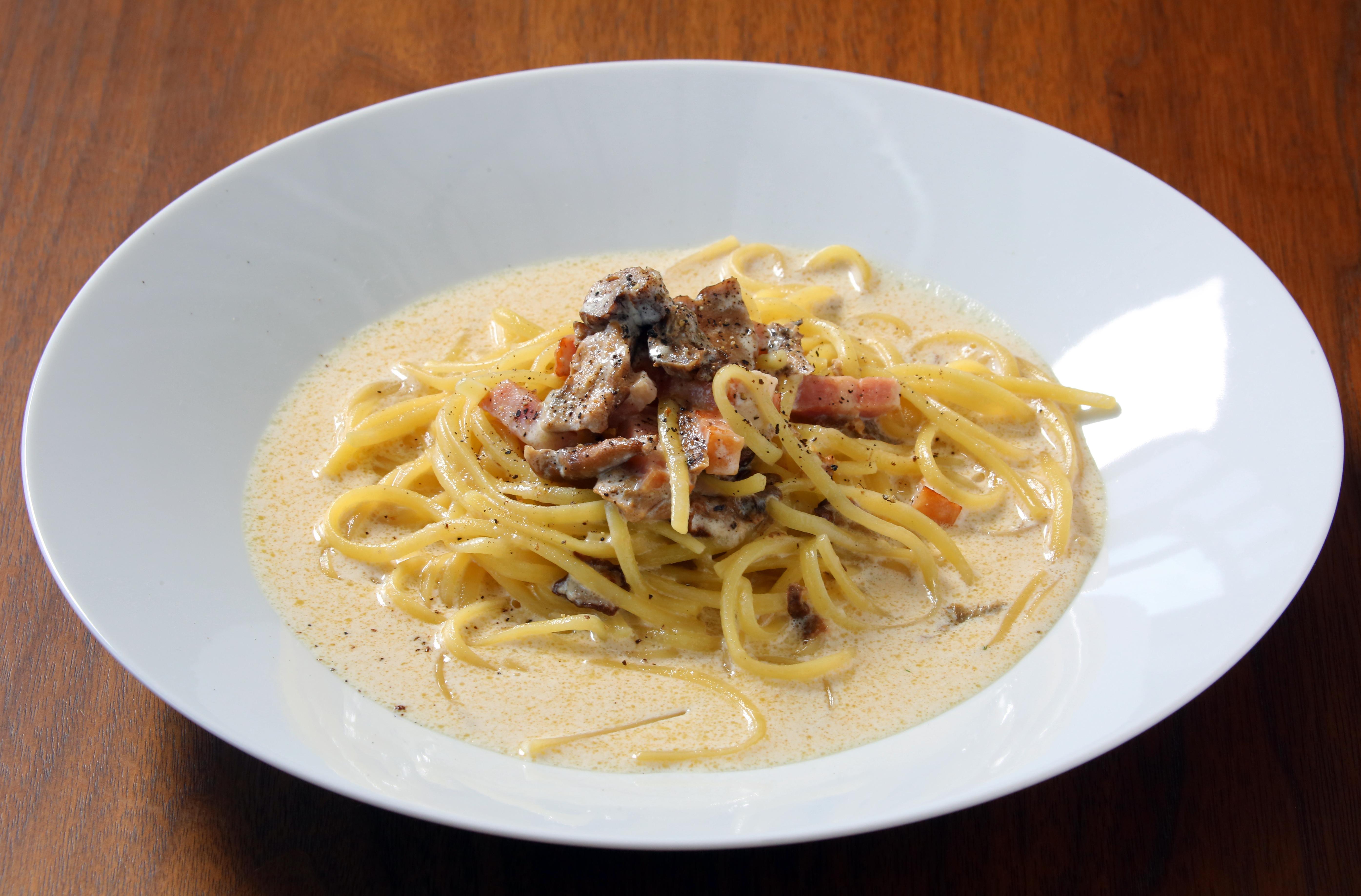 ポルチーニ茸とベーコンのクリームソース リングイネ Linguine with Porucini Mushrooms,Bacon and Cream